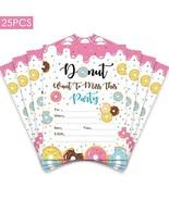 25pcs Donut Paryt Invitation,Donut Kids Birthday Party Invitations,First... - $13.83