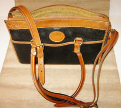Vintage Dooney & Bourke Crossbody Black Pebbled Leather Saddle Brown Tri... - $75.00