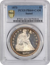 1873 $1 PCGS PR 64+ CAM - Liberty Seated Dollar - Frosty Cameo Fields - $9,680.60