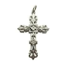 TruKay 925 Sterling Silver Flower Cross Pendant - Vintage - $14.84