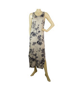 Fine Paris Eleanor Gray Blue Floral Linen Sleeveless Long Maxi Tank Dres... - $98.01