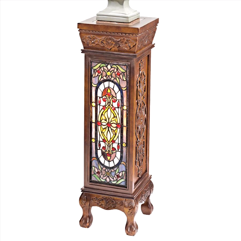 Baldwin Beaux-Arts Illuminated Stained Glass Hand-Carved Pedestal