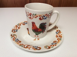 Set of Gibson Home Rooster Chicken Poultry Farm Life Mug Cup/Small Plate... - $10.00