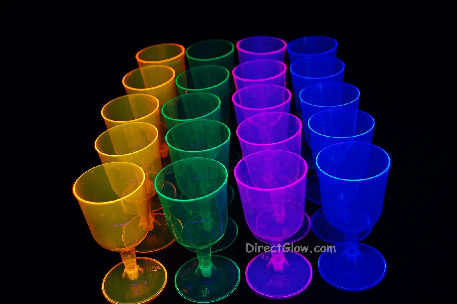 Neon Blacklight Reactive Wine Glasses - 20 ct