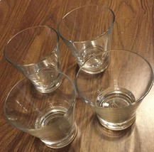 Set Of 4 Heavy Bottom clear widemouth  Sexy Rocks Glasses From Italy NEW - $10.72