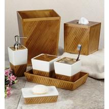 Spa Bamboo 7-Piece Ceramic/Bamboo Bath Accessory Set in White/Tan/Brown - $109.95