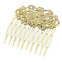 3 Pcs Gold Tone 10 Teeth Side Comb Metal Hair Clip Hair Comb Flower Vine Cirrus