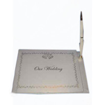 """White Wedding Guest Book Register 6"""" x 9"""" with pen - $8.86"""