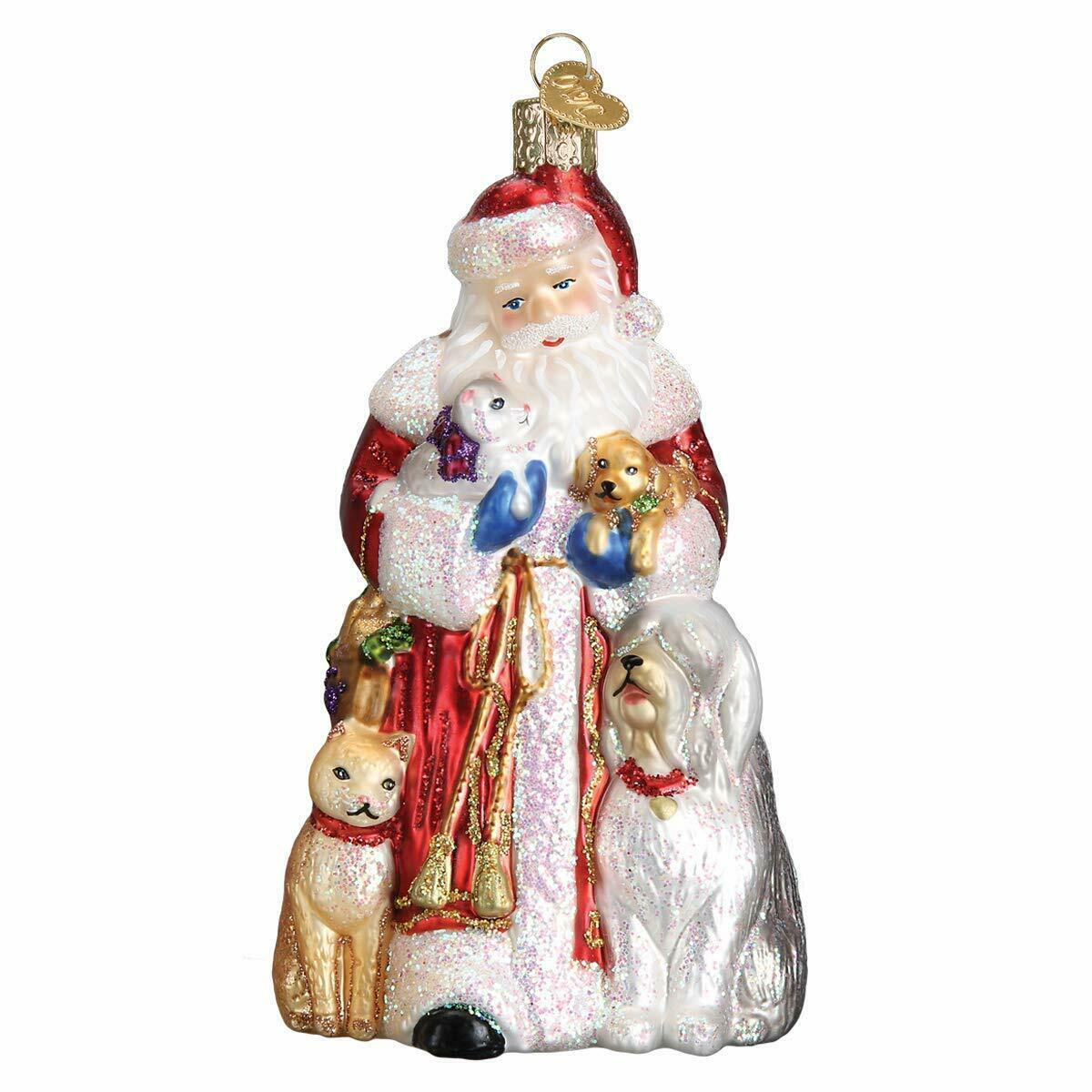 Primary image for OLD WORLD CHRISTMAS SANTA'S FURRY FRIENDS GLASS CHRISTMAS ORNAMENT 40288