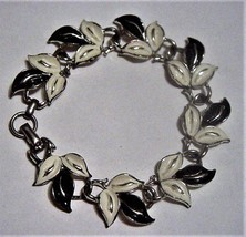Vintage Black and White CORO Enamel Leaf Bracelet - $19.66