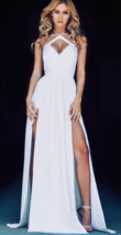 Beauty White Prom Dress Sexy Split Girls Pageant Dresses  A Line Women Gowns  - $135.00