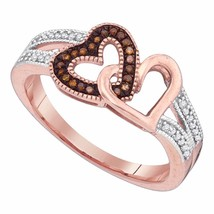 10K Rose Gold Womens Round Red Colored Diamond Heart Love Fashion Ring 1... - $270.00