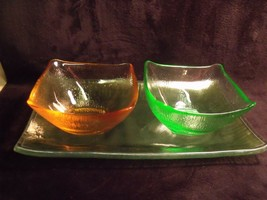 Vintage Mid Century Modern - Colored Art Glass Condiment Tray Set - $31.68