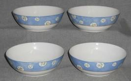 Set (4) 1997 Royal Doulton DENIM DAISY PATTERN Coupe Cereal/Soup Bowls - $39.59