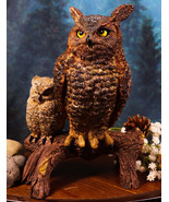 Transient Wisdom Of The Forest Great Horned Owl & Owlet Decorative Figurine - $35.99