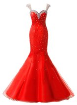 Mermaid Tulle Long Prom Dresses 2017 Beaded Formal Evening Dresses,Party... - $154.00