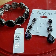 NEW: Trifari - Purple and Silver Bracelet and Earrings Set - $24.00