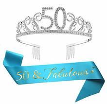 50th Birthday Tiara and Sash, Glitter Satin Sash and Crystal Rhinestone Crown Bi image 3
