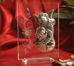 Italian Silver Guardian Angel icon on a glass stand  - $24.95