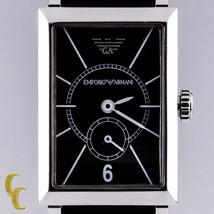 Emporio Armani acciaio inox orologio al quarzo ar-0130 Cinturino Pelle Nero - $181.77