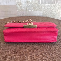 100% AUTH CHANEL HOT PINK Caviar Leather WOC Wallet on Chain WOC Bag GHW image 5