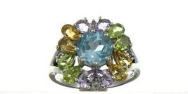 Vintage Ladies Size 8.25 Sterling Silver Multi Color Halo Ring No. 2141