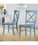 Country Manor Modern Farmhouse X Back Dining Chairs Set of 2 Baby Blue Wood - $185.62