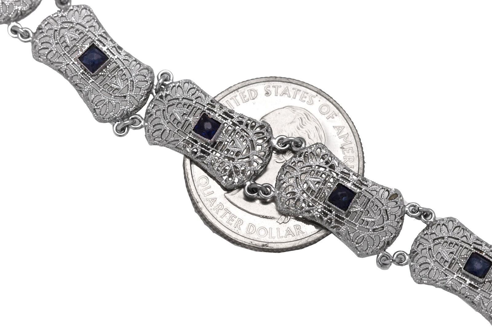 "1930's Antique Art Deco 10K White Gold 0.56ctw Sapphire Filigree 7.00"" Bracelet"