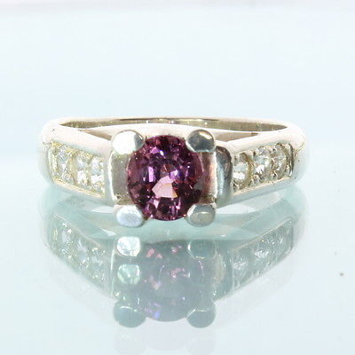 Pink Purple Spinel White Sapphire Handmade Sterling Silver Ladies Ring size 6.5