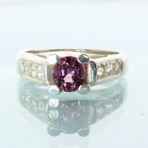 Pink Purple Spinel White Sapphire Handmade Sterling Silver Ladies Ring size 6.5 - £87.89 GBP