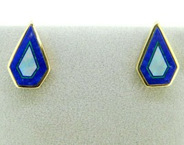 14k Gold Intarsia Stud Earrings with Genuine Natural Opal Lapis Inlay (#... - $600.00