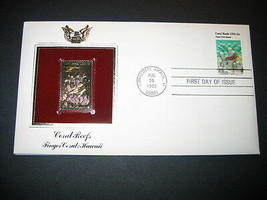 1980 FINGER CORAL REEF HAWAII FDC 22kt Gold GOLDEN Cover replica STAMP - $7.91
