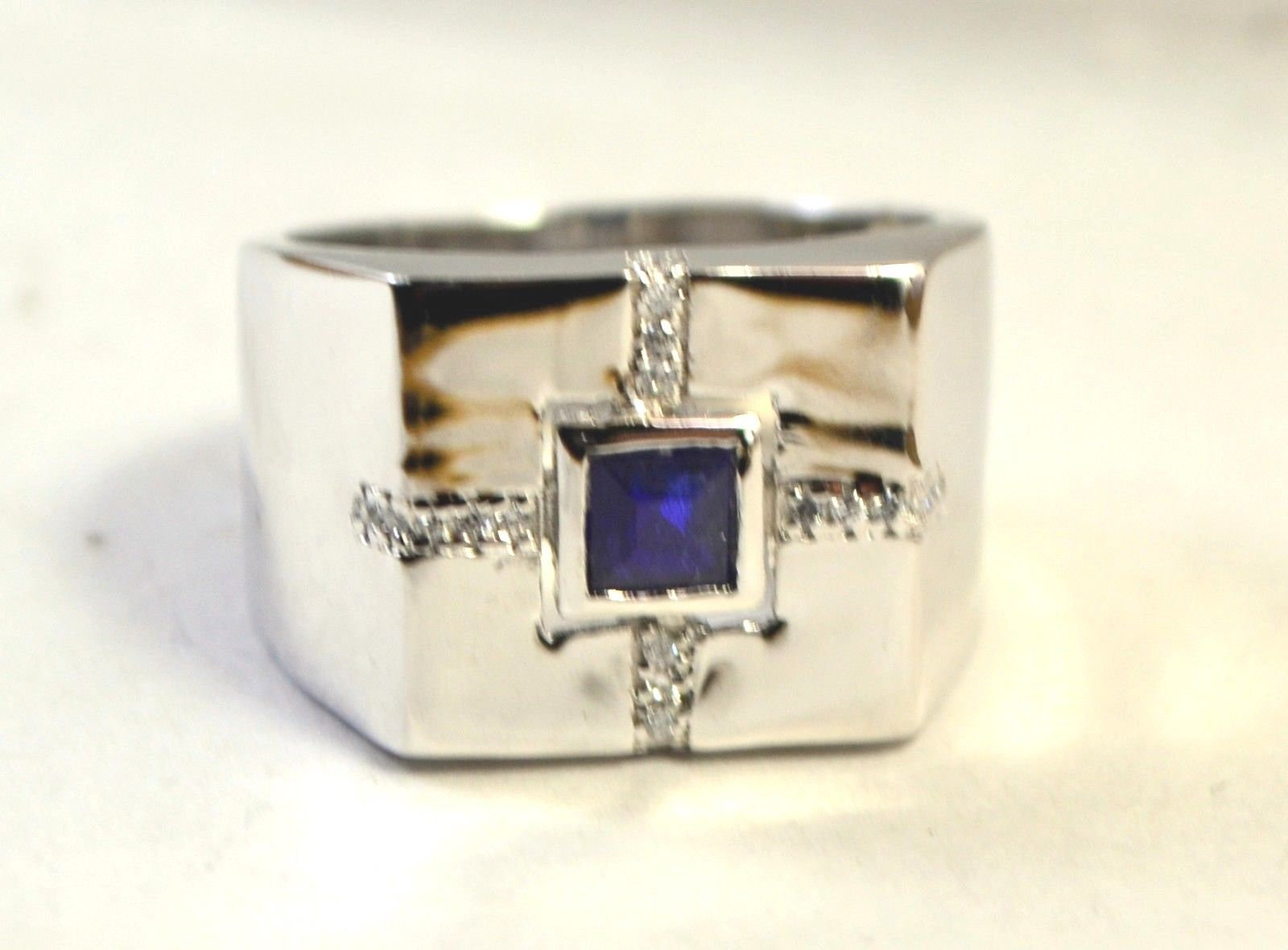 925 Sterling Silver Natural Fine Quality Blue Sapphire And Cz Gemstone Handmade  image 2