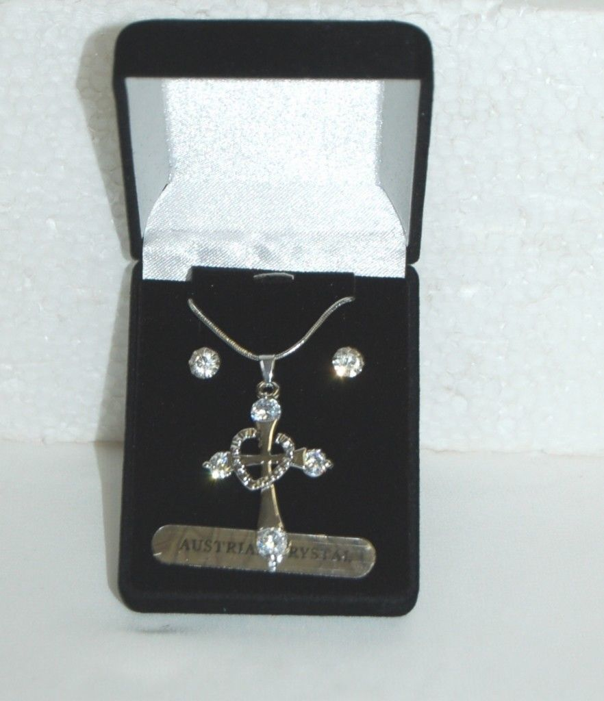 BVT NK Necklace Earring Set Cross Design Silver Color Austraian Crystal Stones