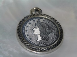Estate Large Faux 1776 Coin in Silvertone Circle Frame Pendant – 1 and 3... - $8.59