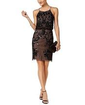 Adrianna Papell Beaded Mesh Sheath Dress, Black Nude,4 - $217.79