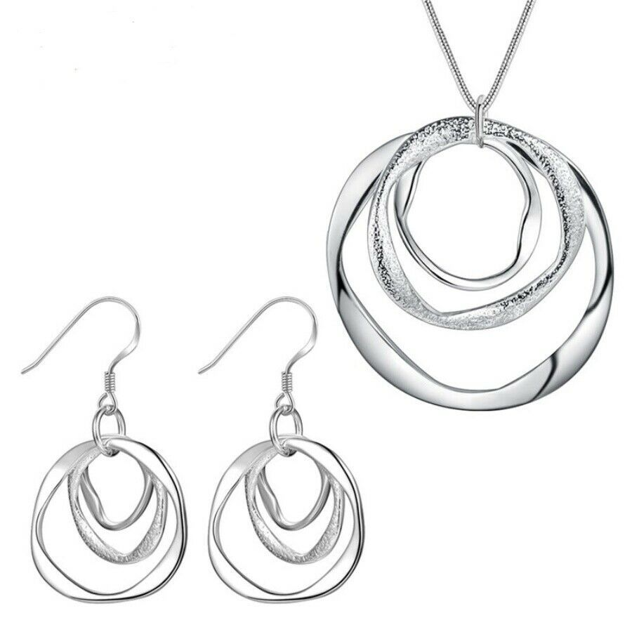Primary image for Three Loop Pendant Necklace and Earrings 925 Sterling Silver NEW