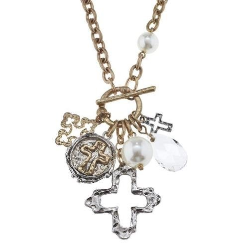 "Pre-made Charm Toggle 30"" Necklace Worn Gold and Oxidized Silver Open Cross Clus"