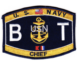 """4.5"""" NAVY BT CHIEF BOILER TECHNICIAN EMBROIDERED PATCH - $23.74"""