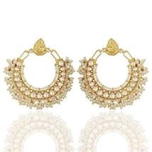 Pearl 18K Gold Plated 925 Sterling Silver Jhumka Earrings Gemstone Jewelry - $172.26