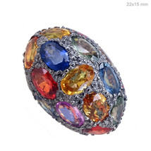 New Sapphire Gemstone Disco Bead 925 Sterling Silver Spacer Ball Finding... - $504.10