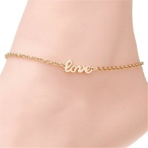 18K Gold Plated Love Letter Anklet Chain Ankle Charm Bracelet Foot Jewelry - $9.89