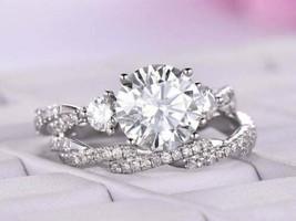 2.25 Ct Round Cut Diamond Bridal Set Wedding Engagement Ring 14K White G... - $126.99