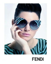 $695 Fendi 53mm Cutout Cat Eye Sunglasses Blue Black Made In Italy With ... - $274.55