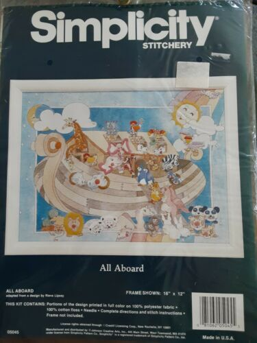 Primary image for Noahs Ark All Aboard Simplicity Stamped Stitchery Kit  05045 Rieva Lipsey 16x12