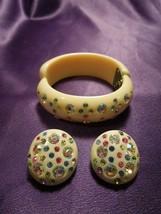 Vintage Celluloid Weiss Hinged Camper Bracelet & Clip On Rhinestone Earr... - $123.75