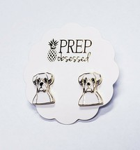 One New Pair Stud Earrings Gold Tone White Enamel Puppy Dog Fashion Jewelry - $8.99