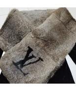 LOUIS VUITTON LV Echarpe Rabbit Fur Muffler Scarf Gorgeous Brown Auth Mi... - $1,794.25