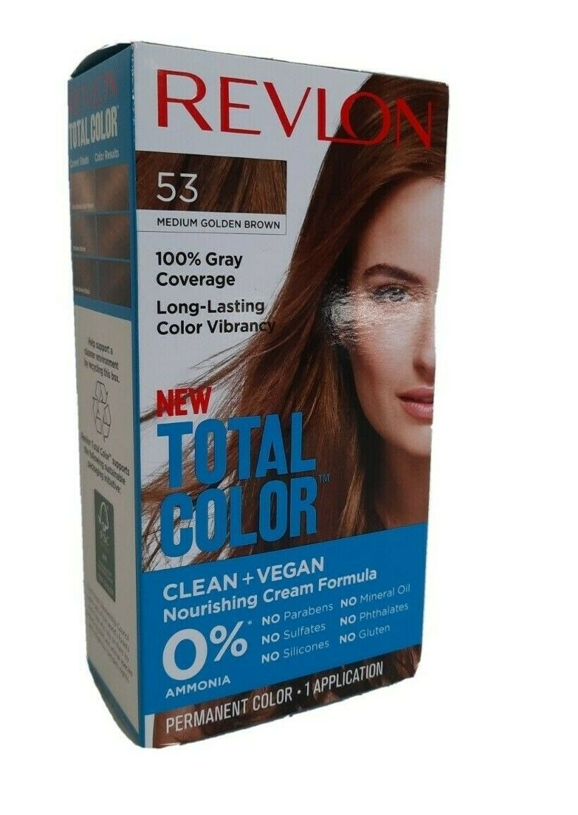 Revlon Total Color Hair Dye 53 Med Gold Brown 100% Grey Coverage PERMANENT VEGAN - $6.92