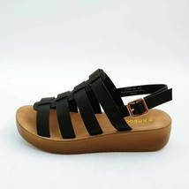 Bamboo Womens Core Strappy Sandals Black Slingback Platform Buckle 6.5 New - $17.80